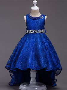 Sleeveless Beading Lace Up Kids Pageant Dress