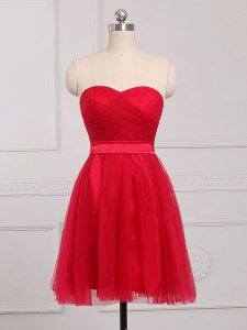 Sweetheart Sleeveless Zipper Vestidos de Damas Red Tulle