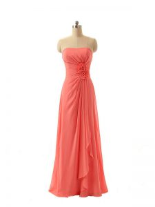 Cheap Watermelon Red Empire Chiffon Strapless Sleeveless Hand Made Flower Floor Length Zipper Damas Dress
