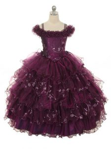 Burgundy Ball Gowns Off The Shoulder Sleeveless Organza Floor Length Lace Up Ruffles and Ruffled Layers Little Girl Pageant Dress