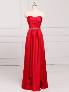 Red Sleeveless Beading and Belt Floor Length Quinceanera Court of Honor Dress