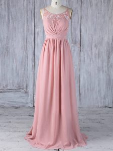 Unique Pink Court Dresses for Sweet 16 Prom and Party and Wedding Party with Appliques Scoop Sleeveless Criss Cross
