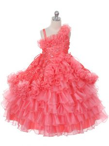 Watermelon Red Organza Lace Up Asymmetric Sleeveless Floor Length Little Girls Pageant Dress Lace and Ruffles and Ruffled Layers