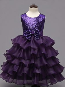 Tea Length Dark Purple Kids Formal Wear Organza Sleeveless Ruffled Layers and Sequins