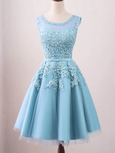 On Sale Knee Length Aqua Blue Court Dresses for Sweet 16 Scoop Sleeveless Zipper