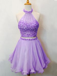 Suitable Lavender Halter Top Neckline Beading Court Dresses for Sweet 16 Sleeveless Lace Up