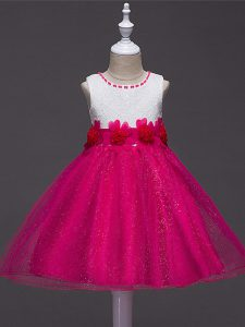 Best Hot Pink Tulle Zipper Scoop Sleeveless Knee Length Little Girls Pageant Dress Wholesale Lace and Hand Made Flower