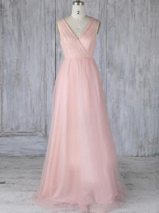 Customized Baby Pink Empire Tulle V-neck Sleeveless Lace Floor Length Zipper Quinceanera Court of Honor Dress