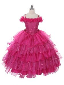 Trendy Ruffles and Ruffled Layers Little Girls Pageant Gowns Fuchsia Lace Up Sleeveless Floor Length