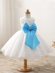 Low Price Mini Length Zipper Kids Pageant Dress White for Wedding Party with Bowknot