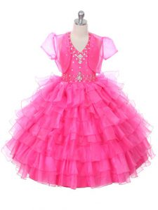 Floor Length Hot Pink Little Girl Pageant Gowns Halter Top Sleeveless Lace Up