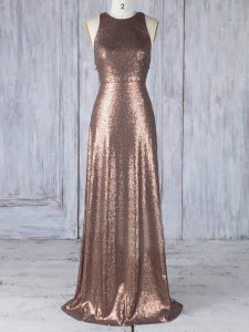 Captivating Brown Dama Dress for Quinceanera Prom and Party and Wedding Party with Appliques Scoop Sleeveless Criss Cross