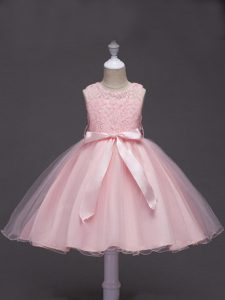 Exquisite Knee Length Baby Pink Little Girl Pageant Dress Scoop Sleeveless Zipper