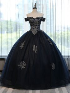 Extravagant Appliques Ball Gown Prom Dress Navy Blue Lace Up Sleeveless Floor Length
