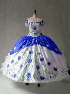 Sexy Cap Sleeves Organza and Taffeta Floor Length Lace Up Vestidos de Quinceanera in Blue And White with Embroidery and Ruffles