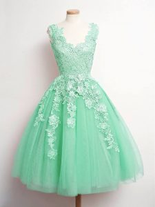 Modern Apple Green V-neck Neckline Lace Dama Dress for Quinceanera Sleeveless Lace Up