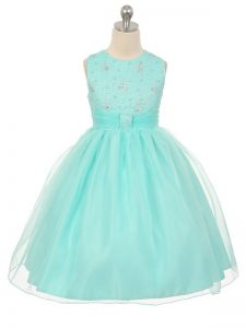 Adorable Beading Kids Pageant Dress Apple Green Lace Up Sleeveless Knee Length