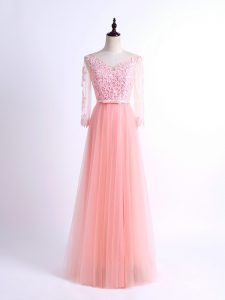 Free and Easy Lace Quinceanera Court of Honor Dress Pink Lace Up Half Sleeves Floor Length