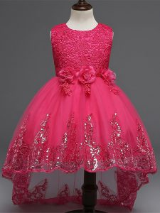 Tulle Scoop Sleeveless Zipper Lace and Appliques and Bowknot and Hand Made Flower Kids Formal Wear in Hot Pink