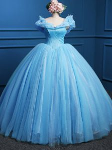 Simple Floor Length Baby Blue Quince Ball Gowns Off The Shoulder Sleeveless Zipper