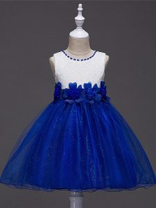 Royal Blue Sleeveless Knee Length Lace and Hand Made Flower Zipper Child Pageant Dress