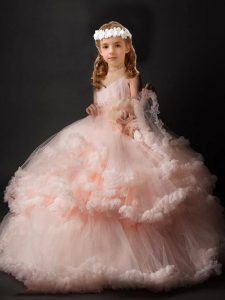 Hot Selling V-neck Sleeveless Girls Pageant Dresses Brush Train Hand Made Flower Pink Tulle