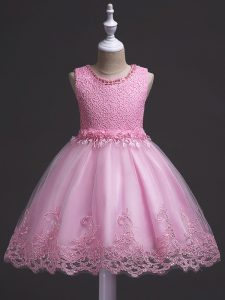 Excellent Rose Pink Scoop Zipper Lace Little Girls Pageant Gowns Sleeveless
