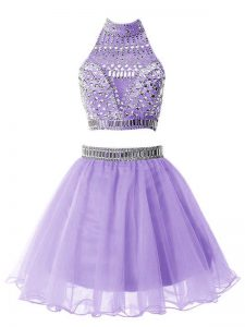 Lilac Zipper High-neck Beading Court Dresses for Sweet 16 Organza Sleeveless