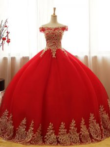 Red Ball Gowns Appliques Sweet 16 Dresses Lace Up Tulle Sleeveless Floor Length