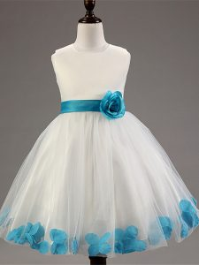 New Arrival Sleeveless Appliques and Hand Made Flower Zipper Little Girls Pageant Dress Wholesale