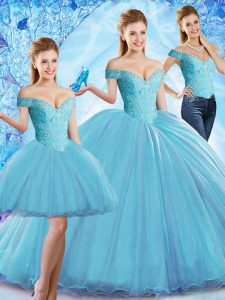 Dramatic Baby Blue Sleeveless Organza Sweep Train Lace Up Sweet 16 Quinceanera Dress for Military Ball and Sweet 16 and Quinceanera