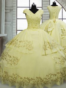 Best V-neck Cap Sleeves Sweet 16 Quinceanera Dress Brush Train Beading and Embroidery Light Yellow Satin and Chiffon