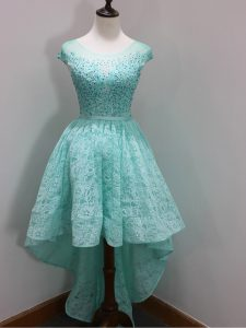 Beauteous Aqua Blue Lace Zipper Quinceanera Court of Honor Dress Cap Sleeves High Low Beading and Lace