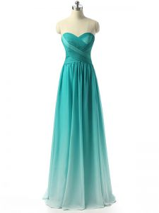 Multi-color Empire Chiffon Sweetheart Sleeveless Ruching Floor Length Zipper Dama Dress