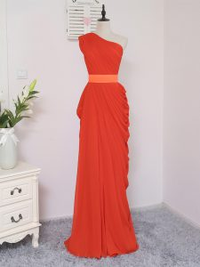 Coral Red Zipper Quinceanera Court of Honor Dress Pick Ups Sleeveless Floor Length