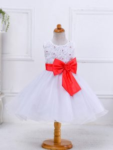 White Scoop Zipper Bowknot Little Girls Pageant Gowns Sleeveless