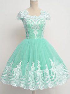Stunning Apple Green Tulle Zipper Vestidos de Damas Cap Sleeves Knee Length Lace