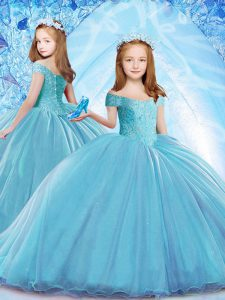 Best Baby Blue Child Pageant Dress Organza Brush Train Cap Sleeves Beading