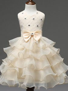 Admirable Ball Gowns Girls Pageant Dresses Champagne Scoop Organza Sleeveless Knee Length Zipper