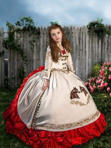 Most Popular Beading and Embroidery and Ruffles Little Girls Pageant Gowns White And Red Lace Up Sleeveless Brush Train