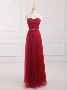 High Quality Wine Red Tulle and Lace Lace Up Sweetheart Sleeveless Floor Length Quinceanera Court Dresses Belt