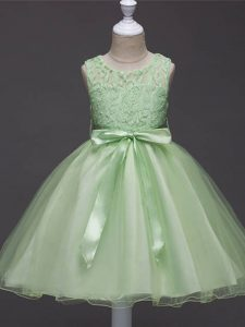 High Quality Organza Sleeveless Knee Length Pageant Gowns For Girls and Lace and Belt