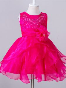 Custom Made Sleeveless Organza Knee Length Zipper Kids Pageant Dress in Hot Pink with Beading and Hand Made Flower