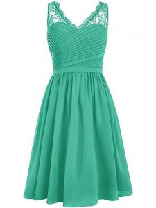 Designer Green Side Zipper Quinceanera Court Dresses Lace and Ruching Sleeveless Knee Length