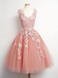 Peach Ball Gowns Tulle V-neck Sleeveless Lace Knee Length Lace Up Court Dresses for Sweet 16