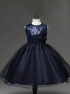 Navy Blue Tulle Zipper Little Girls Pageant Dress Sleeveless Knee Length Sequins and Hand Made Flower