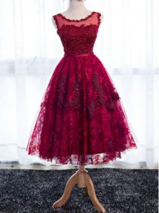 Fuchsia Lace Zipper Vestidos de Damas Sleeveless Tea Length Lace
