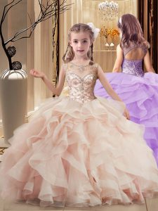 Classical Peach Girls Pageant Dresses Party and Wedding Party with Beading and Ruffles Scoop Sleeveless Brush Train Lace Up