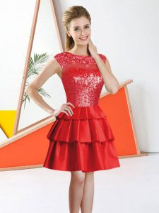 Red A-line Beading and Lace Court Dresses for Sweet 16 Backless Tulle Sleeveless Knee Length