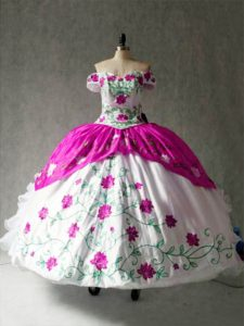 Modern Multi-color Sweet 16 Quinceanera Dress Military Ball and Sweet 16 and Quinceanera with Embroidery and Ruffles Off The Shoulder Cap Sleeves Lace Up